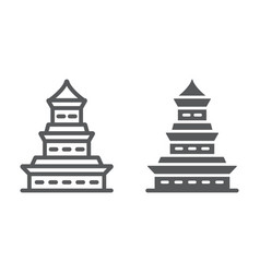 pagoda line and glyph icon japan and architecture vector image