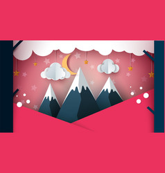 Paper mountain - cartoon landscape cloud moon vector