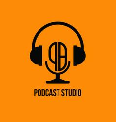 Pb monogram headphone and microphone style vector