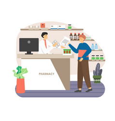 Pharmacy store doctor pharmacist at counter vector