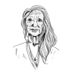 portrait beautiful old woman sketch in shirt vector image