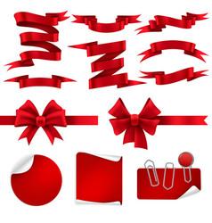 red ribbon and gift bows silk decorative shiny vector image