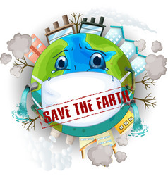 save earth logo vector image