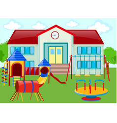 School building and playground vector
