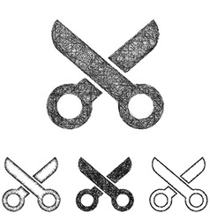 Scissor icon set - sketch line art vector
