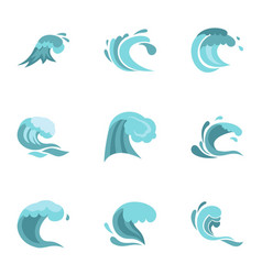 Sea or ocean waves icons set flat style vector
