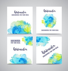 set banners with green and blue watercolor vector image