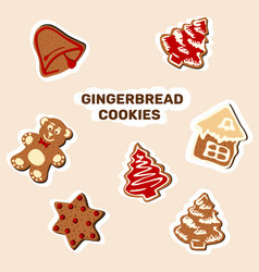 set of christmas stickers symbols of the holiday vector image