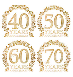 Set of golden anniversary seals fortieth vector