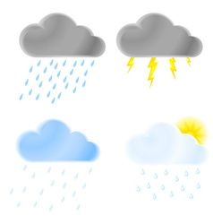 set of icons of thunder clouds with rain heavy vector image
