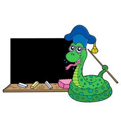 Snake teacher with blackboard vector