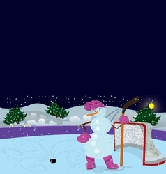 Snowman is playing ice hockey banner vector image