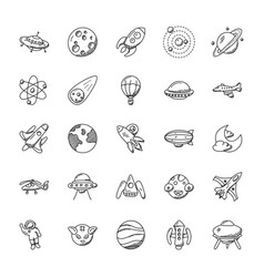 space and aircrafts icons set vector image