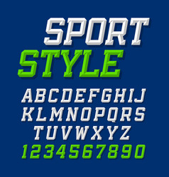 Sport style retro font on dark blue background vector