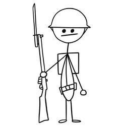 Stickman cartoon british ww1 wwi soldier vector