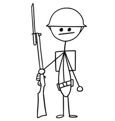 stickman cartoon of british ww1 wwi soldier vector image