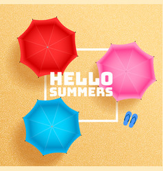 summer beach sand with umbrella shades background vector image