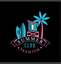 summer club premium logo template design element vector image