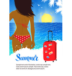 summer design with young woman near sea surf vector image