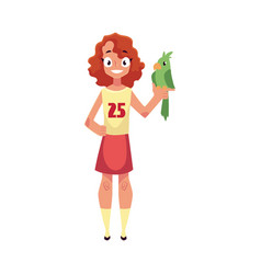teen teenage girl standing and holding green vector image