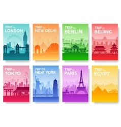 Travel of the world brochure with typography set vector image