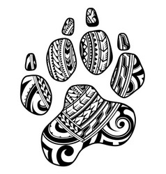 tribal tattoo with dog paw vector image