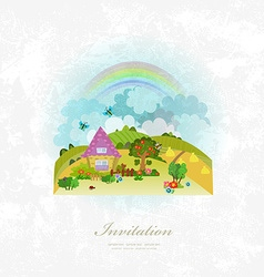 vintage invitation card with rural scenery vector image