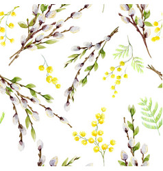 Watercolor willow tree pattern vector