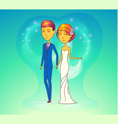 Wedding ceremony with husband and wife vector
