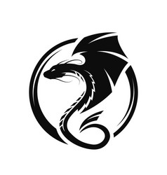 Winged dragon circle logo symbol vector