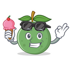 With ice cream guava character cartoon style vector