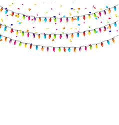 yellow garland lamp bulbs festive isolated vector image