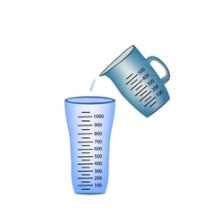 Beaker Measuring cup Pouring of measuring cups vector image