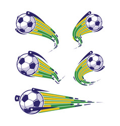 football blue yellow green and soccer symbols set vector image