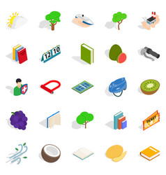 Natural resistance icons set isometric style vector