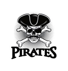 pirate skull with mustache cross bones wears hat vector image