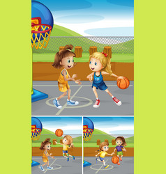 scenes with girls playing basketball at the courts vector image