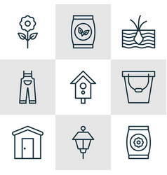 Set of 9 agriculture icons includes pail vector