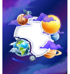 Space background with white frame vector image vector image