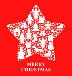 xmas star red vector image vector image
