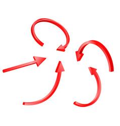 3d red arrow set vector image