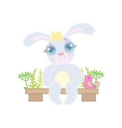 Bunny Sitting On Garden Bench vector image vector image