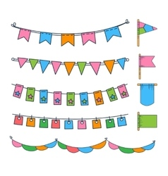 Colorful Garlands and Flags vector image