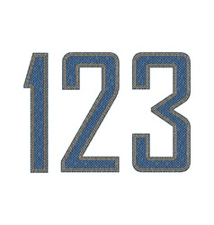 Denim fabric stithed digits vector image vector image
