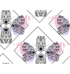 hand drawn textured lined ink graphic moth vector image