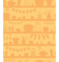 Kitchen pantry shelves seamless pattern background vector image