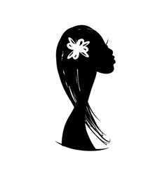 Female head silhouette for your design vector image vector image