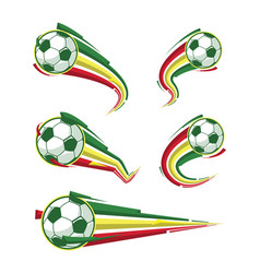 football yellow green red and soccer symbols set vector image