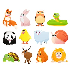 Isolated animals with happy smiles vector image