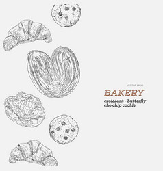 set of bakery hand draw vector image